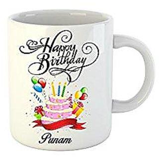 Huppme Happy Birthday Punam White Ceramic Mug (350 ml)