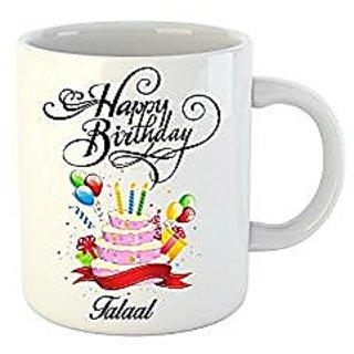 Huppme Happy Birthday Talaal White Ceramic Mug (350 ml)