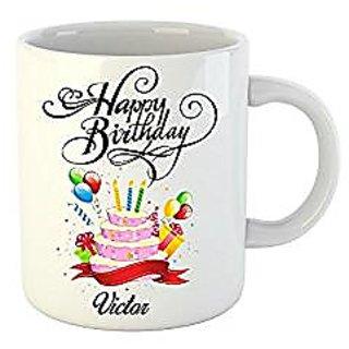 Huppme Happy Birthday Victor White Ceramic Mug (350 ml)