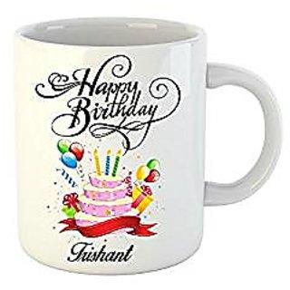 Huppme Happy Birthday Trishant White Ceramic Mug (350 ml)