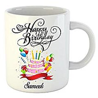 Huppme Happy Birthday Sameek White Ceramic Mug (350 ml)