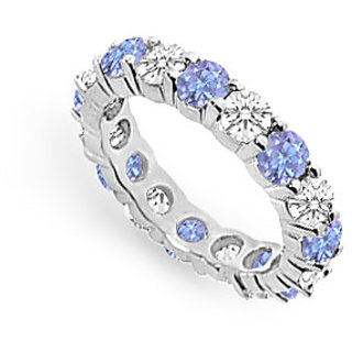 Shapely Tanzanite And Diamond Prong Set Eternity Band With 14K White Gold