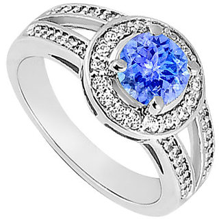 Pulchritudinous Tanzanite And Diamond Engagement Ring With 14K White Gold Design 3