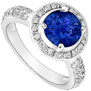 Pulchritudinous Sapphire And Diamond Halo Engagement Ring With 14K White Gold