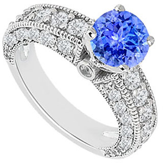 Refined Tanzanite And Diamond Engagement Ring With 14K White Gold Design 2