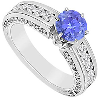 Resplendent Tanzanite And Diamond Engagement Ring With 14K White Gold Design 2