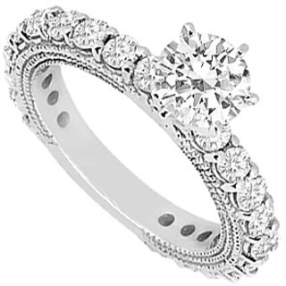 Resplendent Diamond Engagement Ring With 14K White Gold Design 2