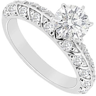 Shapely Diamond Engagement Ring With 14K White Gold Design 2
