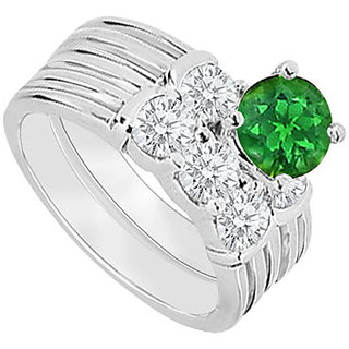 Ravishing With 14K White Gold Emerald And Diamond Engagement Ring With Wedding Band Set