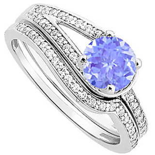 Shapely Tanzanite And Diamond Engagement Ring With Wedding Band Set With 14K White Gold