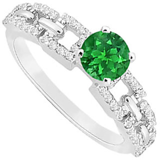 Splendid Emerald And Diamond Engagement Ring With 14K White Gold Design 1