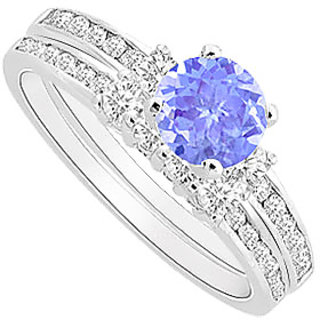 Radiant Tanzanite And Diamond Engagement Ring With Wedding Band Set With 14K White Gold