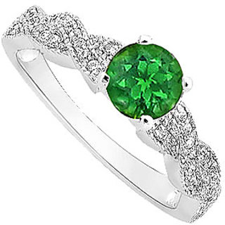 Ravishing Emerald And Diamond Engagement Ring With 14K White Gold
