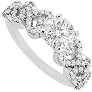 Pulchritudinous Diamond Engagement Ring With 14K White Gold