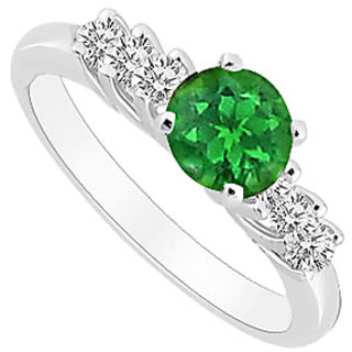 Resplendent Emerald And Diamond Engagement Ring With 14K White Gold