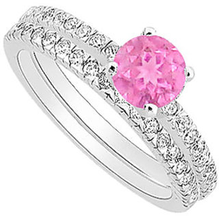 Radiant Pink Sapphire And Diamond Engagement Ring With Wedding Band Set With 14K White Gold