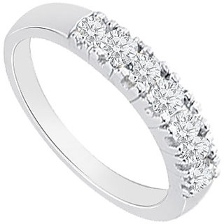 Refined With 14K White Gold Round Prong Set Diamond Wedding Band