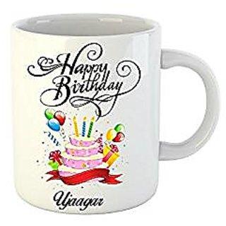 Huppme Happy Birthday Ujaagar White Ceramic Mug (350 ml)