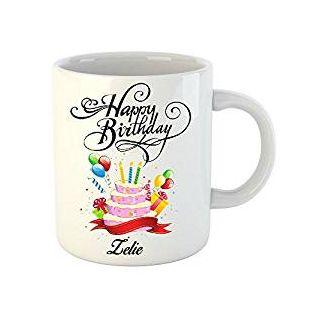 Huppme Happy Birthday Zelie White Ceramic Mug (350 ml)