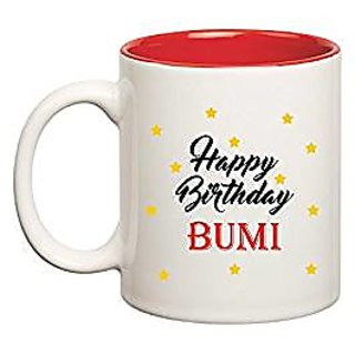 Huppme Happy Birthday Bumi Inner Red Mug