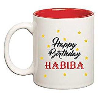 Huppme Happy Birthday Habiba Inner Red Mug
