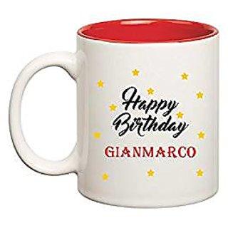 Huppme Happy Birthday Gianmarco Inner Red Mug