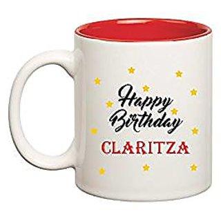 Huppme Happy Birthday Claritza Inner Red Mug