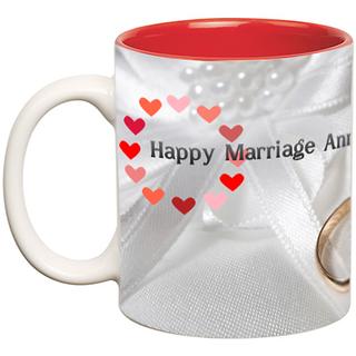 Anniversary Wishes Inner Color Ceramic Mug  (350 ml)
