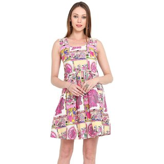 Pink and Beige Printed Cotton Frock Dress for Women