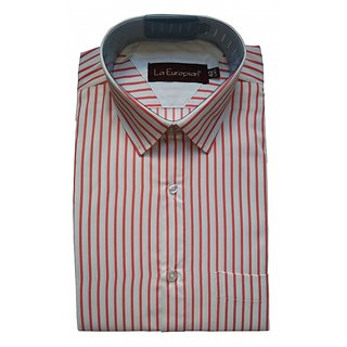 La Europian Peach Stripped Formal Shirt