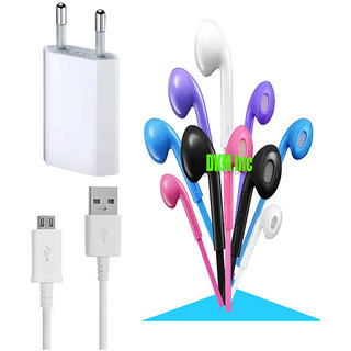 USB Travel Charger and Noise Cancellation Earphones with Mic Combo for Micromax Canvas Pace 4G Q416