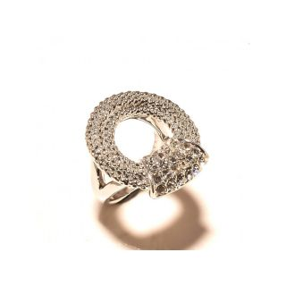 sanaa creations CZ Round Silver Plated Wedding Collection Ring