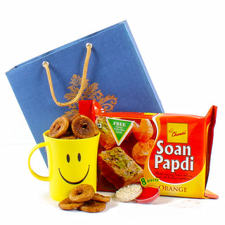 Dry Fig and Orange Soan Papdi Hamper for Bhai Dhooj