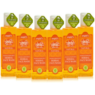 Khadi Vagad's Orange  Grapefruit Herbal Face Wash (200ml x 6)
