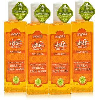 Khadi Vagad's Orange  Grapefruit Herbal Face Wash (200ml x 4)