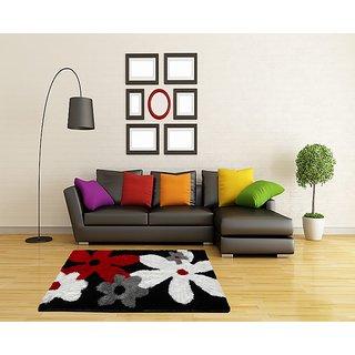 Mulicolor Flower Shaggy Carpet 3x5 Feet