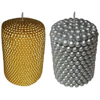 Atorakushon Smokeless Pack Of 2 Decorative Gold  Silver Pillar Designer Tall Candles For Diwali Birthday Party DECORATI