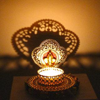 Shadow Diya Tealight Candle Holder of Removable Designary Ganesha Face