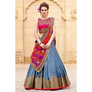 Helix New Pink And Gray Baglori Silk Lehenga Choli