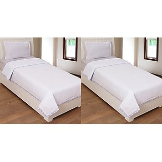 R-trendz Cotton Plain Top Sheet Set of 2