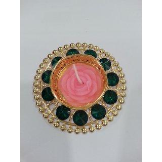 Beautiful Designer Diya with green shine