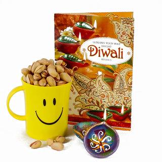 Two Diwali Clay Diya and Pista Nut Smiley Mug with Diwali Greeting Card