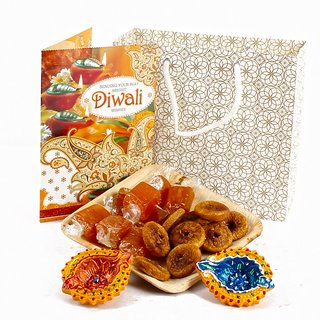 Anjeer Aam Papad Toffees Diwali Treat with Diwali Diya and Greeting Card