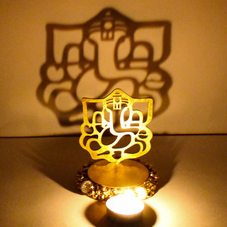 Exclusive Shadow Diya Tealight Candle Holder of Removable Ganesha Idol