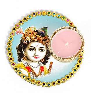 Bal Krishna Colorful Printed Diya