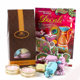 Delicious Chocolate with Diwali Card and Designer Diya