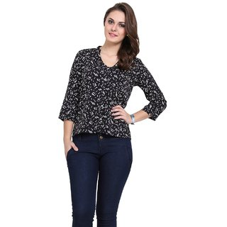 Black Printed Cotton Shirt for Women