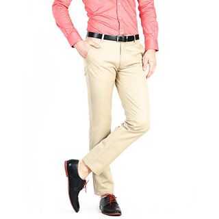 Basics Smart Casuals Plain Khaki Cotton Tapered Trousers