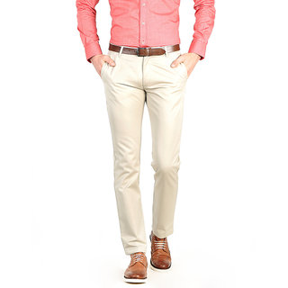 Basics Smart Casuals Plain Beige Cotton Tapered Trousers