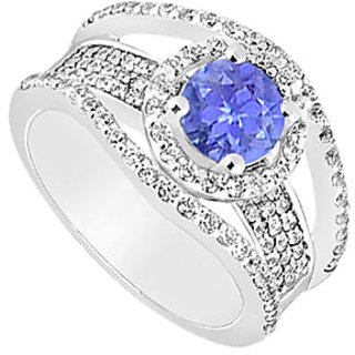 Stunning Tanzanite And Diamond Engagement Ring With 14K White Gold